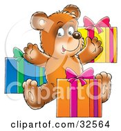 Clipart Illustration Of A Happy Teddy Bear Opening Birthday Presents by Alex Bannykh