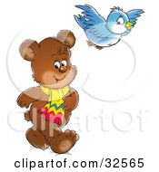 Clipart Illustration Of A Cute Brown Bear Wearing A Scarf And Walking While His Bird Friend Flies Above