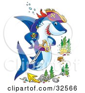 Clipart Illustration Of A Pirate Shark With A Tattoo And Sword Swimming Over A Site Of A Sunken Ship