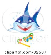 Clipart Illustration Of An Aggressive Shark Showing Its Teeth While Swimming Forward Towards Snorkel Gear
