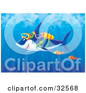 Clipart Illustration Of Two Fish Swimming With A Shark Wearing Scuba Gear In The Sea