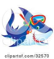 Clipart Illustration Of A Blue Green Eyed Shark Smiling And Wearing Snorkel Gear