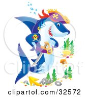 Clipart Illustration Of A Tough Pirate Shark With A Sword At A Ship Wreck Site