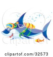 Clipart Illustration Of A Blue And White Shark Swimming With A Fish While Scuba Diving by Alex Bannykh