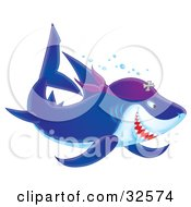 Clipart Illustration Of A Blue And White Pirate Shark Swimming With Bubbles by Alex Bannykh