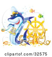 Clipart Illustration Of Two Fish Swimming By A Shark Wearing A Captains Hat And Binoculars Leaning On A Sunken Ships Helm