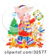 Clipart Illustration Of A Pink Pig School Boy In Clothes Walking Through Autumn Leaves And Holding A Word Puzzle Over A Blue Bird by Alex Bannykh