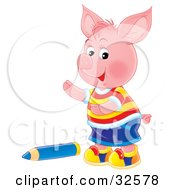 Clipart Illustration Of A Cute Pink Piglet Boy In Clothes Standing By A Blue Colored Pencil by Alex Bannykh