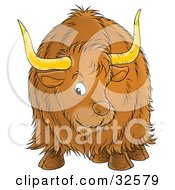 Clipart Illustration Of A Brown Ox With Big Horns And Long Hair Facing Front