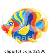 Clipart Illustration Of A Vibrantly Colored Red Blue Yellow And Orange Angelfish In Profile