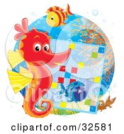 Clipart Illustration Of A Red And Yellow Seahorse With Two Fish And A Crab On A Reef Working On A Word Puzzle by Alex Bannykh