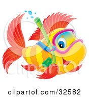 Clipart Illustration Of A Blue Eyed Yellow And Red Fish Snorkeling by Alex Bannykh #COLLC32582-0056