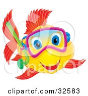 Clipart Illustration Of A Happy Yellow Fish With Red Fish And Blue Eyes Snorkeling by Alex Bannykh