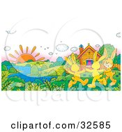 Clipart Illustration Of Three Happy Yellow Rabbits Holding Hands And Dancing On A Sunny Spring Day Near A Home On The Riverfront