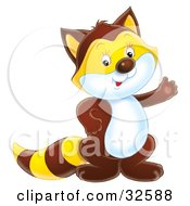 Clipart Illustration Of A Friendly Brown Badger Or Raccoon With An Orange Face And Stripes On The Tail And A White Belly by Alex Bannykh