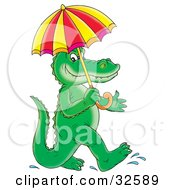 Clipart Illustration Of A Happy Alligator Walking On His Hind Legs Carrying An Umbrella On A Rainy Day by Alex Bannykh