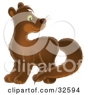 Clipart Illustration Of An Adorable Brown Mink With Green Eyes Looking Back Over Its Shoulder
