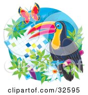 Perched Toucan By A Word Puzzle With Flowers And A Butterfly