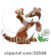 Clipart Illustration Of A Cute Brown And White Ferret By A Flower Admiring A Butterfly On Its Paw by Alex Bannykh
