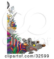 Clipart Illustration Of A Tough Rat In Clothes A Razor Blade Attached To His Tail