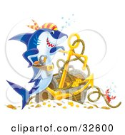Clipart Illustration Of A Proud Pirate Shark Leaning On An Anchor By Sunken Treasure