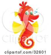 Poster, Art Print Of Cute Red And Yellow Seahorse With Green Eyes Facing Right And Smiling At The Viewer With Bubbles