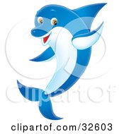 Clipart Illustration Of A Friendly Blue Dolphin With A White Belly And Brown Eyes Waving With One Fin