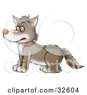 Clipart Illustration Of A Brown Wolf In Profile Facing Left