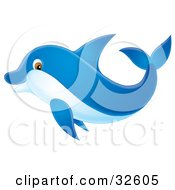 Clipart Illustration Of A Blue Dolphin With Brown Eyes Swimming By by Alex Bannykh