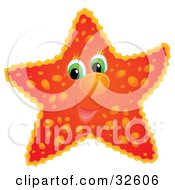 Clipart Illustration Of A Cute Green Eyed Red Starfish With Orange Spots
