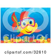 Clipart Illustration Of An Excited Yellow Fish With Red Fins And Blue Eyes Snorkeling And Exploring A Colorful Coral Reef by Alex Bannykh