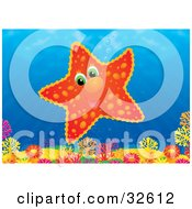 Clipart Illustration Of A Cute Orange And Red Starfish Over A Colorful Coral Reef In The Ocean