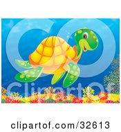 Clipart Illustration Of A Happy Green Sea Turtle With An Orange Shell Swimming Above A Coral Reef In The Ocean by Alex Bannykh