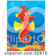 Poster, Art Print Of Happy Red Seahorse With Yellow Fins And Green Eyes Swimming Above A Colorful Coral Reef