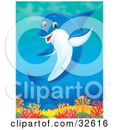 Clipart Illustration Of A Friendly Waving Dolphin Swimming Over A Reef by Alex Bannykh