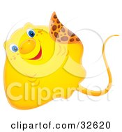 Clipart Illustration Of A Cute Yellow Stingray With Blue Eyes by Alex Bannykh