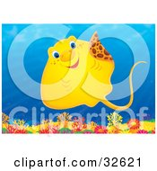 Clipart Illustration Of A Friendly Yellow Stingray Swimming Over A Coral Reef