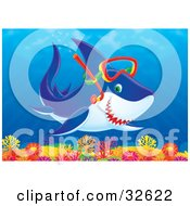 Clipart Illustration Of A Snorkeling Shark Swimming Over A Colorful Coral Reef
