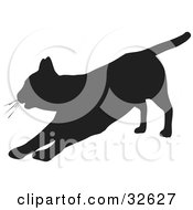 Clipart Illustration Of A Lazy Cat Silhouetted In Black Stretching Out On Its Front Legs by KJ Pargeter
