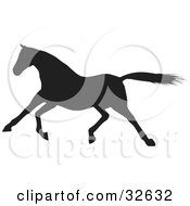 Clipart Illustration Of A Galloping Black Silhouetted Horse