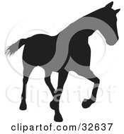 Clipart Illustration Of A Trotting Black Silhouetted Horse