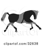 Clipart Illustration Of A Running Black Silhouetted Horse