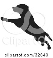Clipart Illustration Of A Leaping Dog Silhouetted In Black by KJ Pargeter