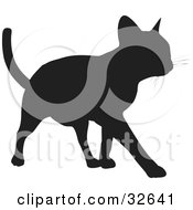 Clipart Illustration Of A Cool Cat Silhouetted In Black Walking Forward by KJ Pargeter