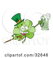 Clipart Illustration Of A Partying Clover Character In A Green Hat Carrying A Cane And A Mug Of Beer On St Patricks Day by Hit Toon