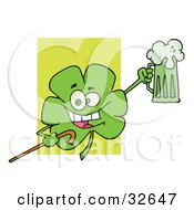 Clipart Illustration Of A Happy Green Clover Leaf Cheering With A Mug Of Beer And Carrying A Cane On St Paddys Day by Hit Toon