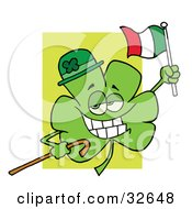 Clipart Illustration Of A Shamrock Character Wearing A Green Hat Holding A Cane And A Flag Celebrating St Paddys Day by Hit Toon