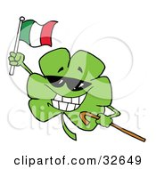 Clipart Illustration Of A Clover Wearing Sunglasses Carrying A Cane And Waving An Irish Flag On St Patricks Day by Hit Toon