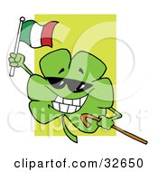 Clipart Illustration Of A Happy Shamrock Carrying A Cane And Waving An Irish Flag On St Paddys Day by Hit Toon