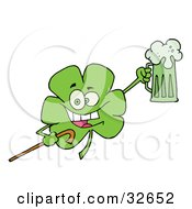 Clipart Illustration Of A Happy Green Shamrock Leaf With A Cane Cheering With A Mug Of Beer On St Patricks Day by Hit Toon